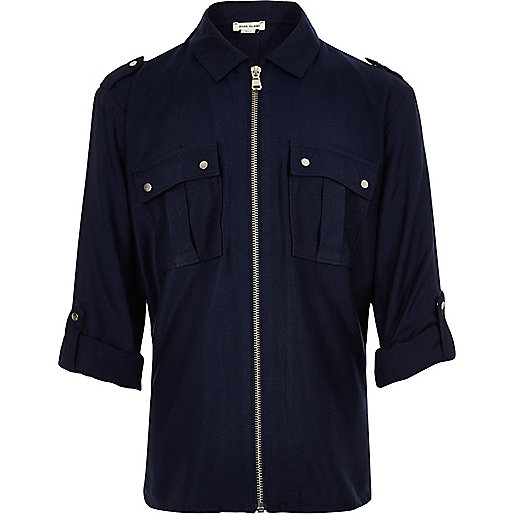 Girls navy zip front shirt