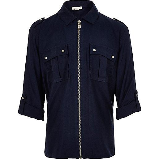 Marineblaues Hemd mit Reißverschluss