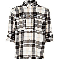 Girls cream checked shirt