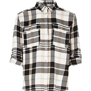Girls cream check shirt