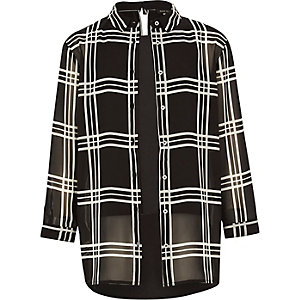 Girls black checked layered shirt