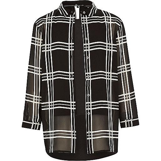Girls black check layered shirt
