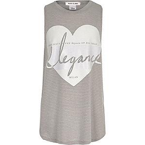 Girls grey stripe longline tank top