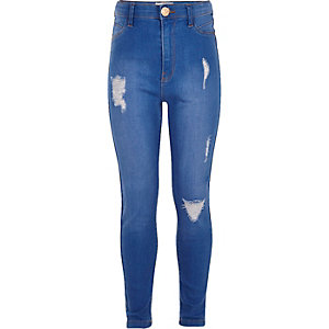 Girls blue high rise ripped Molly jeggings