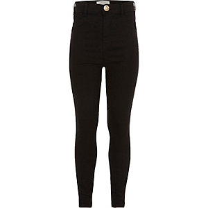 Girls black high-waisted Molly jeggings