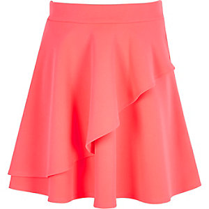 Girls pink textured double layer skirt