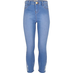 Girls blue high rise chewed hem jeggings
