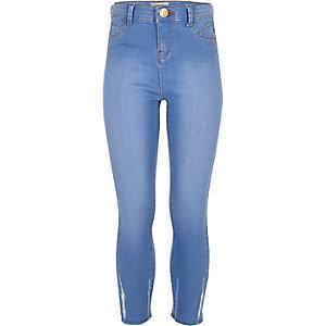 Jeggings bleus taille haute à ourlet brut pour fille