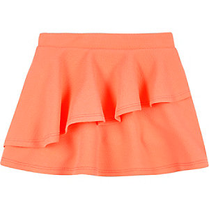 Mini girls coral double layer skirt