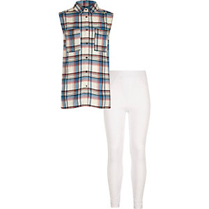 Girls pink checked shirt and leggings outfit