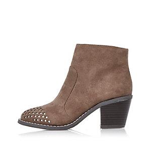 Beige Cowboy-Stiefel im Western-Stil