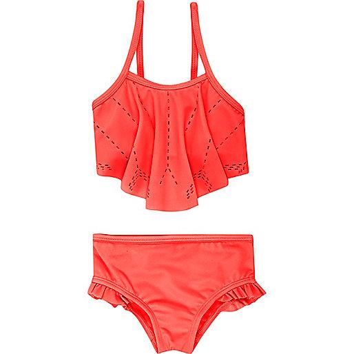 Mini girls coral laser cut bikini