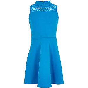 Girls blue lace panel scuba dress