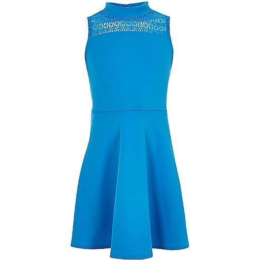 Girls blue lace panel scuba dress