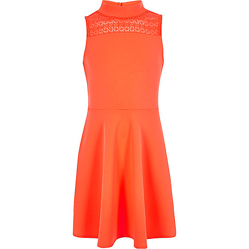 Girls coral lace panel scuba dress