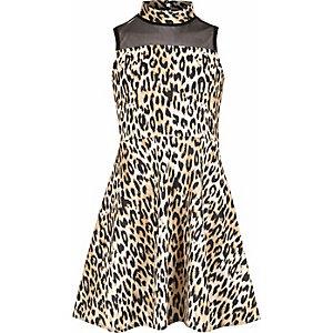 Scuba-Kleid mit Netzstoffeinsatz und Leoprint