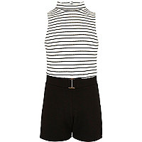 Girls black and white stripe playsuit