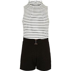 Overall in Schwarz und Weiß mit Streifen
