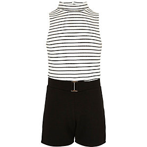 Girls black and white stripe romper