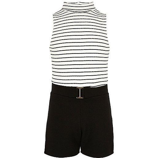 Girls black and white stripe romper