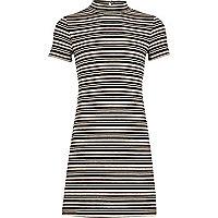 Girls black stripe flared dress