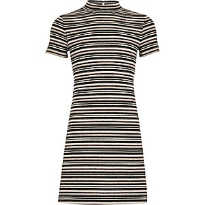 Girls black stripe flared dress
