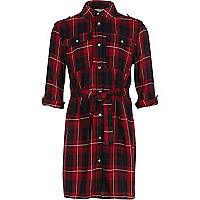 Robe chemise à carreaux rouge fille