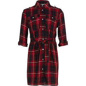 Girls red checked shirt dress