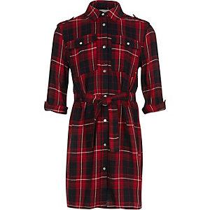 Girls red checked shirt dress