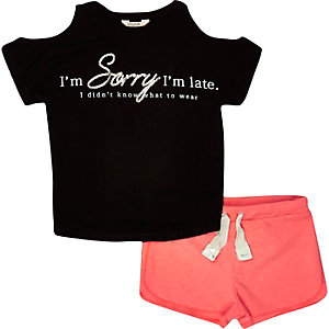 Mini girls black top and shorts outfit