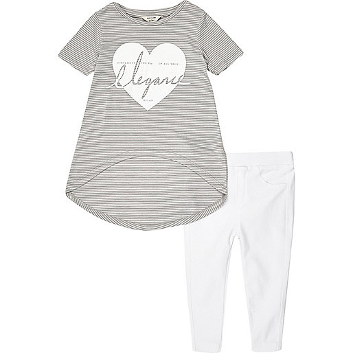 Mini girls grey top and leggings outfit
