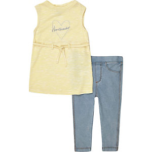 Mini girls yellow tunic and leggings outfit