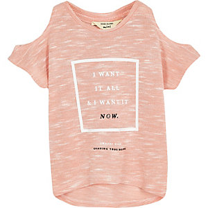 Mini girls light peach cold shoulder t-shirt
