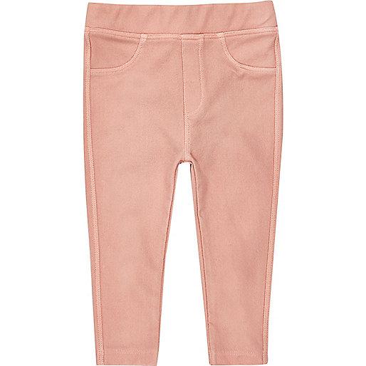 Mini girls peach denim look leggings set