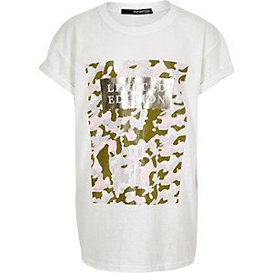 Girls white camouflage print t-shirt