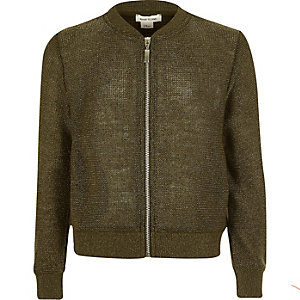 Girls khaki knit bomber jacket