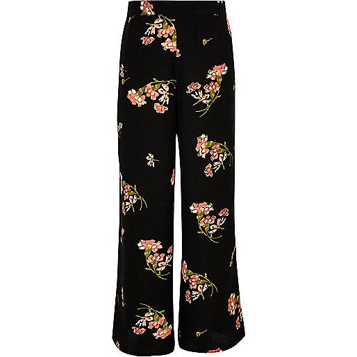 Girls black floral print palazzo pants