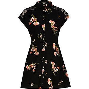 Girls black print lace shirt dress