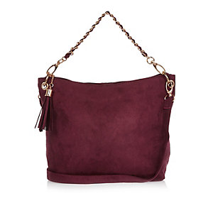Girls red slouch chain handbag