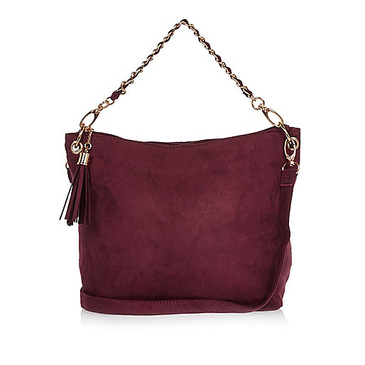 Girls red slouch chain bag