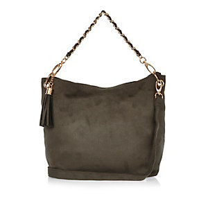 Girls khaki slouch chain handbag