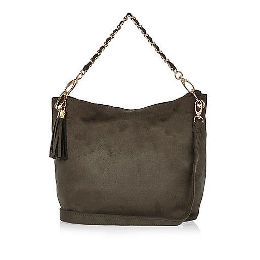 Girls khaki slouch chain bag