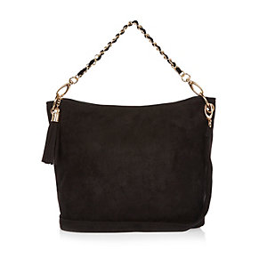 Girls black slouch handbag