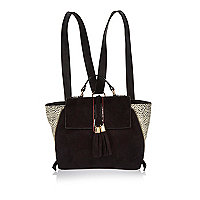 Girls black leopard print winged handbag
