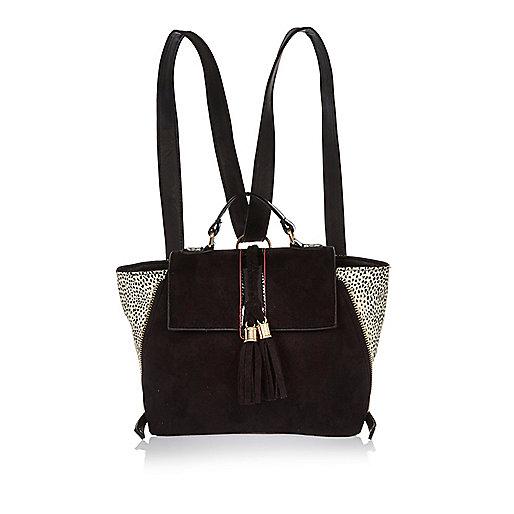 Girls black leopard print winged bag