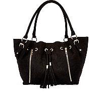 Girls black slouch shopper bag