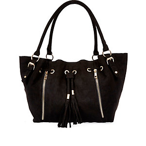 Girls black slouch shopper bag