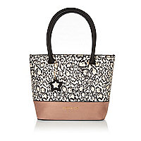 Girls white animal print shopper bag