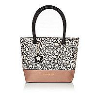 Weiße Shopper-Tasche mit Animal-Print