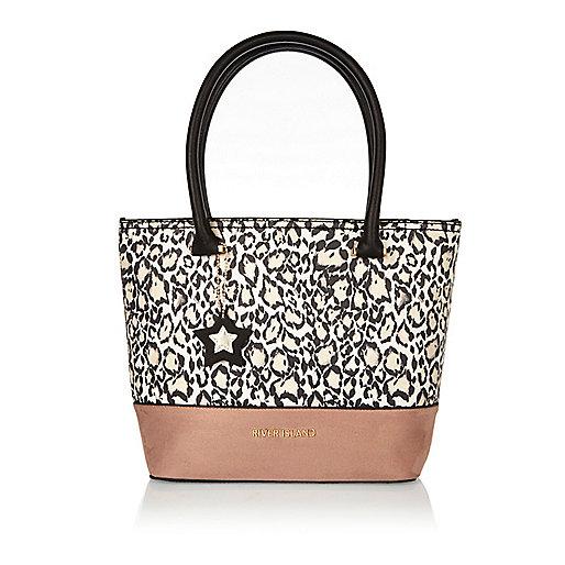 Girls white animal print shopper bag